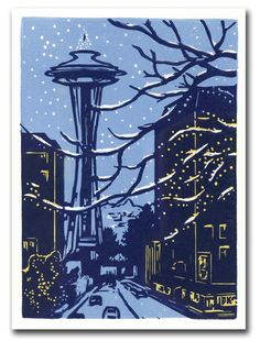Downtown Winter Block Print Card by kgcrafts on Etsy, $4.75