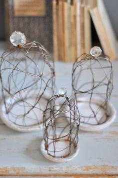 cloche in ferro e cristalli... per racchiudere candele, fiori, piccoli dolci con un po' di poesia lebianchemargherite.blogspot.it