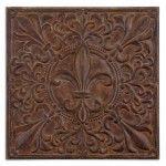 $217.80  Uttermost - Fleur De Lis Plaque Wall Art in Rust Brown Wash - 13753