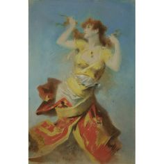 1890's Original Pastel by Jules Cheret  France  c. 1890's  Original pastel of dancing woman by Jules Cheret, the father of the color lithographic poster