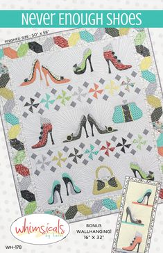 Never Enough Shoes / Whimsicals / Shoe Themed Quilt Pattern / Applique / Fat Quarter Friendly / Wall Hanging Shoe Template, Applique Quilt Patterns, Block Patterns, Sewing Patterns, Yellow Accessories, Sampler Quilts, Windham Fabrics, Quilted Wall Hangings, Sign Printing