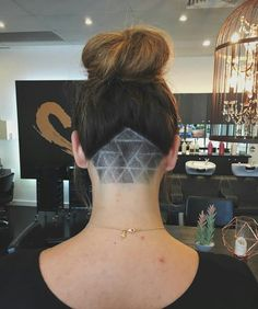 Undercut Triangle hair tattoo When Will The World Wake Up? Undercut Long Hair, Undercut Hairstyles, Updo Hairstyle, Triangle Hair, Tattoo Triangle, Triangle Undercut, Nape Undercut Designs, Hair Tattoo Designs, Shaved Hair Designs