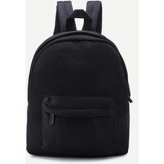 SheIn(sheinside) Black Front Zipper Nylon Mesh Backpack (15 AUD) ❤ liked on Polyvore featuring bags, backpacks, mesh bag, nylon backpack, mesh backpack, day pack backpack and nylon mesh bags
