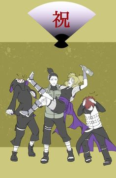 ShikaTema, haha! I love that she's kicking Kankuro and Gaara looks kinda scared... Who knew the fearful Kazekage could be scared of drunk Temari?