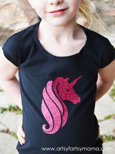 DIY Glitter Unicorn Shirt at artsyfartsymama.com #vinyl #unicorn #kidfashion #ExploreCricut
