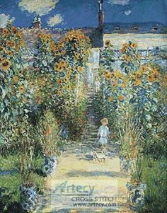 The Artists Garden at Vetheuil cross stitch pattern.