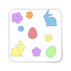 Easter bunny tablecloth kids kid child gift idea diy personalize easter patches square sticker negle Gallery