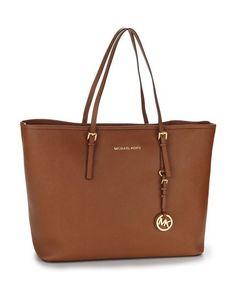 Medium Leather Travel Tote - Luggage