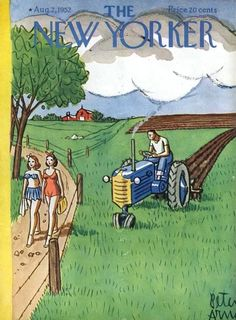 Man on Tractor, Girls in Swimsuits. New Yorker Magazine, August 2, 1952 (Peter Arno)