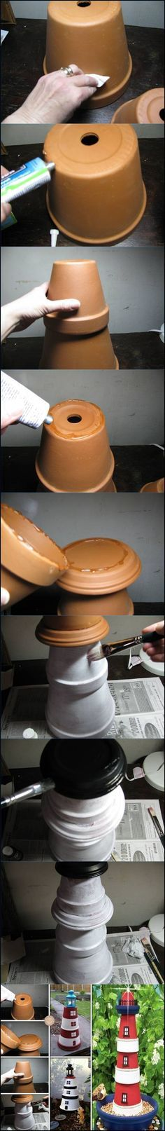 How to Make a Terra Cotta Clay Pots Lighthouse *** Check out this great product. Flower Pot Art, Clay Flower Pots, Flower Pot Crafts, Clay Pot Projects, Clay Pot Crafts, Diy Clay, Diy Crafts, Flower Pot People, Clay Pot People