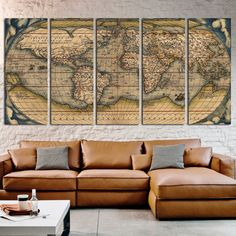 Antique Map By Ortelius Canvas Print Large World Art Ancient Living Room