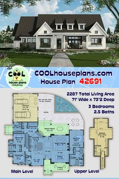 Its easy to see why this farmhouse plan is a popular design in the 2200 to 2400 sq ft category. Its open floor plan and split bedroom design are very popular within the industry. Take notice to the unique pass through from kitchen to rear porch. Belly up to the snack bar for snacks or drinks. Keep the dirt outside and the cool air inside with this great home feature for entertaining or keeping the kids happy. This home plan can be modified so give us a call at 800-482-0464 #COOLhouseplans Craftsman House Plans, New House Plans, Dream House Plans, House Floor Plans, Modern Farmhouse Plans, Country Farmhouse, Good House, Future House, Building A House