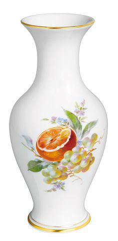"Vase, Shape ""Neuer Ausschnitt"", Vintage Fruitpainting, motif - Orange, gold rim, H 24 cm"