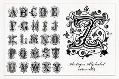 Decorative Alphabet 1 - Brush set by 2 @Graphicsauthor
