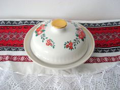 Vintage Butter Dish Covered Butter Dish Ceramic butter dish Soviet Dish butter Retro ceramic oiler USSR vintage butter box Kitchen Gifts by LuckyElenaShop on Etsy