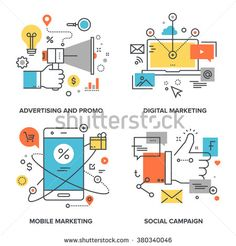 Vector set of conceptual flat line illustrations on following themes - social campaign, digital marketing, mobile marketing, advertising and promo