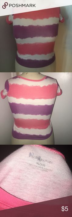 Girls striped T shirt Multi colored striped T shirt. Good condition Miss Attitude Shirts & Tops Tees - Short Sleeve