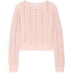 Narciso Rodriguez Cutout wool and cashmere-blend sweater (13.209.655 IDR) ❤ liked on Polyvore featuring tops, sweaters, blush, cashmere blend sweater, pink top, cut-out shoulder sweaters, pink cami top and cutout tops