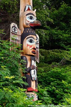 Base of the Kadjuk Bird Pole, Totem Bight State Historical Park, Ketchikan, Alaska