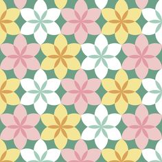 circle 6 arc flower x3 - spring fabric by sef on Spoonflower - custom fabric