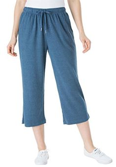 Womens Plus Size Petite Capri Pants In Soft Sport Knit Heather ...