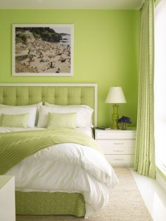 Lime green guest room in Delray Beach, featured in Coastal Living