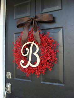 Fall Berry Wreath Fall Wreath Monogram Red Berry by ElegantWreath, $85.00
