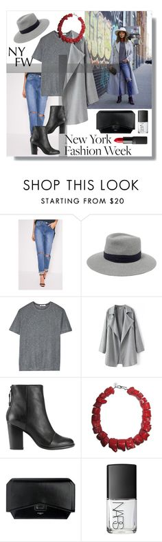 """""""New York Fashion Week"""" by annelisamilano ❤ liked on Polyvore featuring Maison Michel, T By Alexander Wang, rag & bone, Givenchy and NARS Cosmetics"""