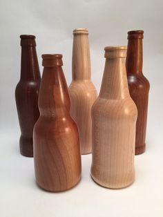 Turned beer bottles Beer Bottles, Woodworking, Home Decor, Decoration Home, Room Decor, Carpentry, Wood Working, Home Interior Design, Woodwork