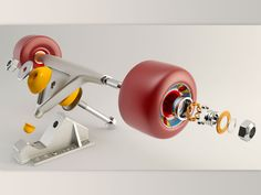 Deconstructed skateboard truck & wheels