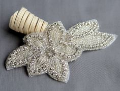Rhinestone Applique Bridal Accessories Crystal Trim Wedding Trim Rhinestone Silver Beaded Applique Sash Headband Supply RA007. $9.98, via Etsy.