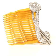 Beautiful Art Deco Tortoise Shell Diamond Hairslide | From a unique collection of vintage more jewelry at https://www.1stdibs.com/jewelry/more-jewelry-watches/more-jewelry/