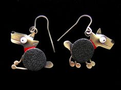 Spot Earrings by Lisa And Scott Cylinder: Metal Earrings available at www.artfulhome.com