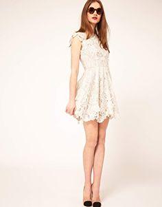Lace Skater Dress with Applique Detailing - asos.com