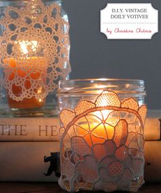 Doilies can dress up vases and candle holders – a great way to give clear containers a little something extra.
