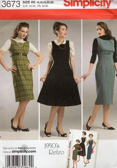 Free Us Ship Sewing Pattern Simplicity 3673 Vintage Retro 1950s 50s Reproduction Jumper Dress Size 14 16 18 20 22 Bust 36 38 40 42 44 OOP by LanetzLivingPatterns on Etsy