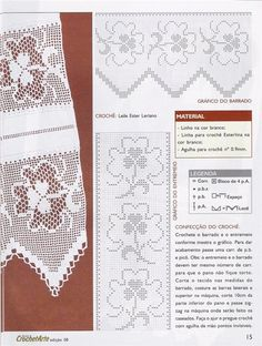 Filet crochet edging and insertion - shamrocks Filet Crochet, Crochet Borders, Crochet Chart, Thread Crochet, Crochet Stitches, Crochet Curtains, Crochet Doilies, Crochet Lace, Square Patterns