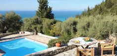 Villa with private pool with in Agios Nikitas Village. Villa With Private Pool, Island Life, Greece, Restaurant, Places, Outdoor Decor, Islands, Home Decor, Greece Country