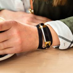 black leather wrap bracelet for the Fitbit Alta, by Finefettl