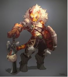I like the armour designs on this artwork, I wouldn't use a tiger personally but Wolves and dragons are also usually on four legs so the idea can still help. Character Concept, Character Art, Concept Art, Character Ideas, Character Illustration, Illustration Art, Dungeons And Dragons, Monster Design, Creature Concept
