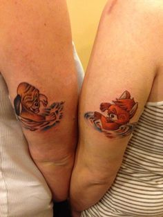 Best friend tattoos - the fox and the hound. Copper and Todd.