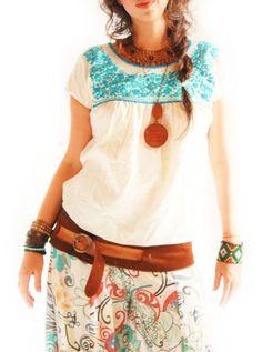 Blusa mini étnico bordado Florecitas Mexicanas por AidaCoronado
