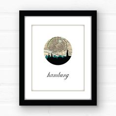 Hamburg Germany map art  Germany print  by PaperFinchDesign