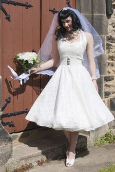 Vivien of Holloway - Vivien of Holloway - 50s Retro halter luxury White Satin Lace swing dress wedding dres