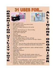 31 uses for the all in one in organizer  Order yours today...go to www.mythirtyone.com/jecker