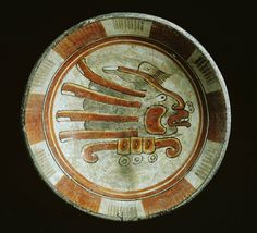 Late Classic, Maya Place made: Uaymil Island, Maya area, Campeche, Mexico-Polychrome dish with a glyph-like decoration of a combination hand and face Hispanic Art, Maya Civilization, Vases, Mesoamerican, Inca, Mexican Folk Art, Ancient Artifacts, Native American Art, Glyphs