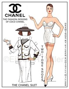 Chanel Fashions Paper Doll от PaperDollsbyERMiller на Etsy