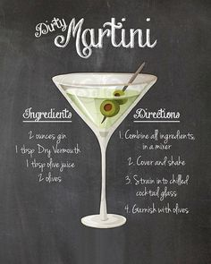 Dirty Martini Cocktail Recipe Chalkboard Printable Kitchen Art Wall Decor Digital JPEG File – Cocktails and Pretty Drinks Lemon Drop Martini, Cocktail Drinks, Cocktail Recipes, Alcoholic Drinks, Dinner Recipes, Beverages, Party Drinks, Lemonade Cocktail, Holiday Drinks