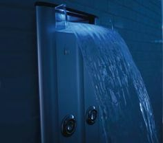 BodySpa by Kohler.  Use a series of Whirlpool Jets and place vertically in a shower to propel water through the air.
