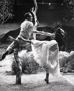 Gene Kelly and Cyd Charisse rehearsing for Brigadoon, 1954